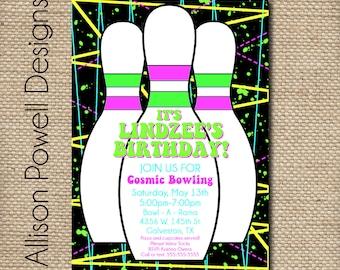 Girls Cosmic Bowling Party Invitation - Custom Printable DIY Invitation