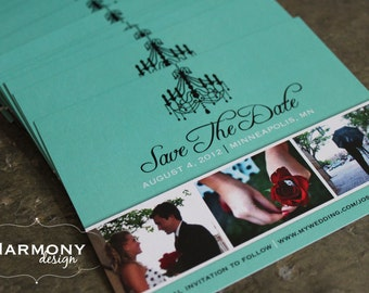 Digital PDF -  Aqua Blue Green Save-The-Date with a Chandelier