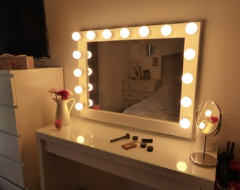Hollywood lighted vanity mirror-large makeup mirror with lights-Wall hanging/free standing-Perfect for IKEA MALM vanity -BULBS not included