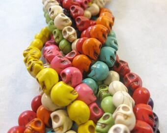 9mm Multi Colored Howlite Skull Beads Set of 24