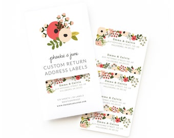 Personalized Return Address Labels | Custom Return Address Labels Set of 30 : Blooming Wreath Personalized Address Labels