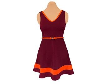 Orange + Maroon Skater Dress