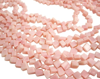 Pink Peruvian Opal Beads, Pink Opal Beads, Peruvian Opal Beads, Smooth Diamond Cut, SKU 3983A