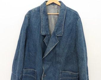 VINTAGE JEANS denim mens coat jacket size XL relaxed fit