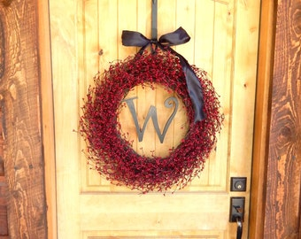 MONOGRAM Wreath-RED Berry Wreath-Personized Gift-Holiday Gifts-Christmas Wreath-Personalized Wreath-Initial Wreath-Custom Scented Wreaths
