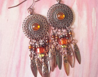 Copper Metal Southwest Style Dangle Earrings