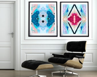 Set of two abstract wall art prints, blue wall art, magenta pink, blue, modern home decor, wall prints, hot pink, matching set of two prints