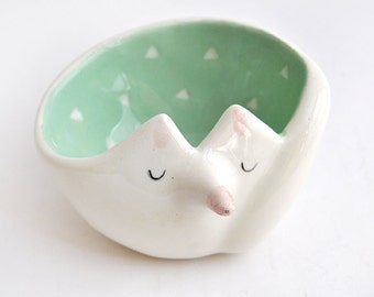 Ceramic Fox Bowl with Mint Green Engobe and White Triangles. Ready To Ship