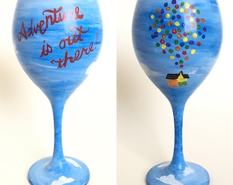 Up Adventure Is Out There Hand Painted Wine Glass Disney Gift Drink Beverage Kitchen Glassware Barware Trip House Balloons Carl Russell Dug