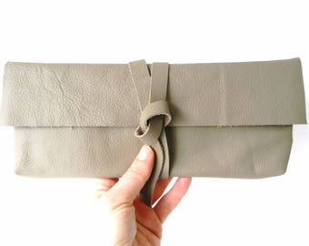Small Leather Bag| Leather Clutch| Leather Pouch| Leather Make-Up Bag| Leather Pencil Case
