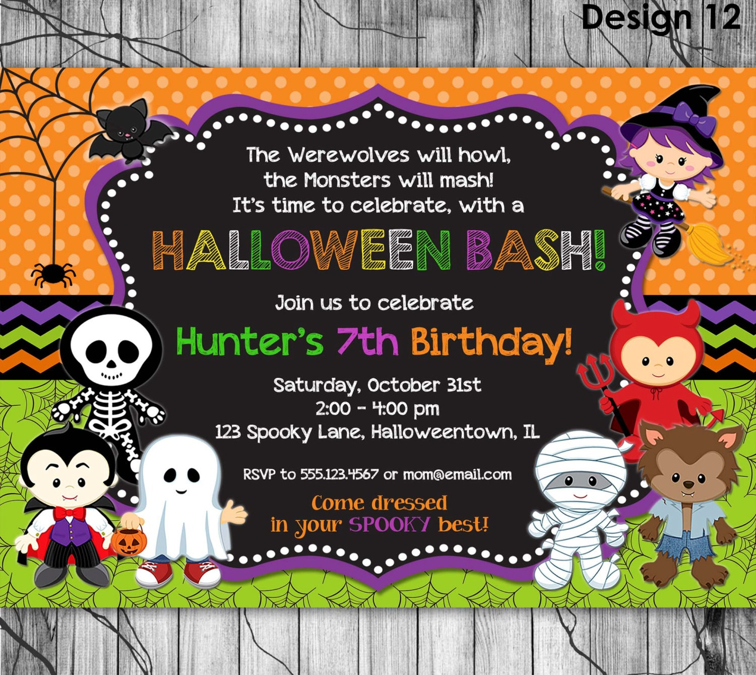 Halloween birthday invitation printable kids halloween party zoom filmwisefo Image collections