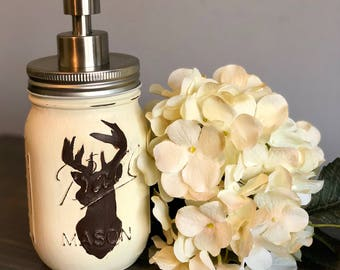 Deer Mason Jar Soap Dispenser