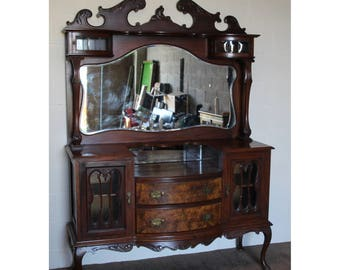 A Quality Victorian Carved Walnut Mirror Back Sideboard Cabriole Legs C1870
