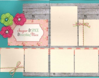 12x12 SUGAR & SPICE scrapbook page kit, premade scrapbook, 12x12 premade scrapbook page, premade scrapbook pages, 12x12 scrapbook layout