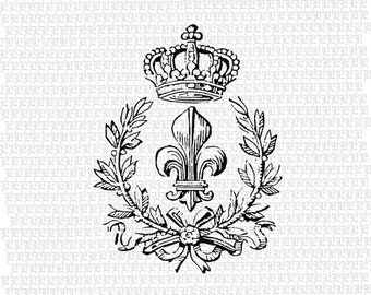 French Crown Digital Graphic Download Printable Image 2363