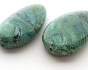 2 Large Vintage Lucite Turquoise Marble Swirl Thin Tear Drop Bead, 40 mm, Swirl Textured Bead, Brown Blue White Green Marble, Jewelry Making