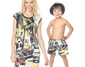Matching Mommy And Me Swimsuit, Tropical Dress, Mother And Son Matching Outfit, Tropical Clothing, Matching Mom And Son Outfit, Shorts