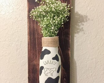 Cow Kitchen Wall Decor. Mothers Day Gift. Farmhouse Decor. Rustic Home Decor.