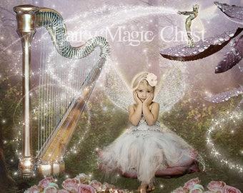 Fantasy Digital Background , digital backdrop, fairy, harp on a enchanted forest, prop for composite photo, manipulation. Instant download.