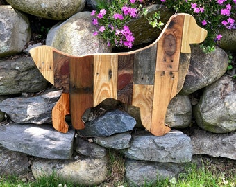 Reclaimed Planked Wood Golden Retriever Dog Home Decor