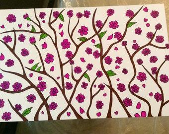 Cherry Blossom Greeting Card Hand Made