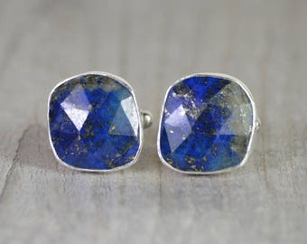 Lapis Lazuli Cufflinks Set In Sterling Silver, Something Blue Wedding Gift For Him, Handmade In England