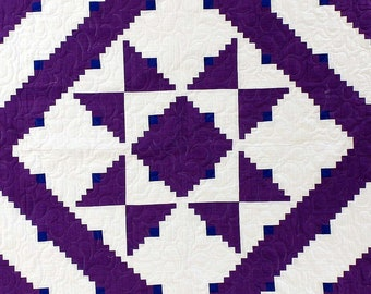 Patchwork Imperial Purple Log Cabin Star FINISHED QUILT - nice feather quilting