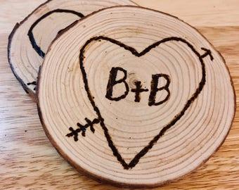 Personalized*Wood Burned*Coasters