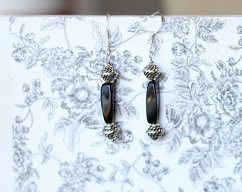 Handmade black and silver dangle earrings
