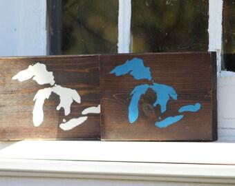 Great Lakes Cedar Wood Sign | Lake Michigan, Lake Erie, Lake Huron, Lake Superior, Lake Ontario | HOMES