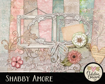 Spring Digital Scrapbook Kit Clip Art - Shabby Amore Digital Papers, Cottage Chic ClipArt Elements & Paper Pack, Digital Kit, Shabby Kit