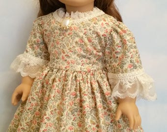 American Girl or 18 Inch Doll Historical 1700s Dress in Cream Floral and Lace
