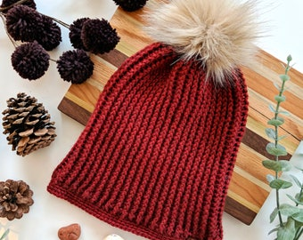 Bolton Beanie Women's Slouchy Hat Ribbed Beanie Pom Faux Fur Crimson Red Hat   SIZE SMALL crochet beanie winter hat slouchy hat beanie hat