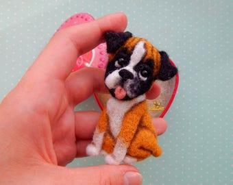 Felt brooch dog Boxer, pet portrait Boxer, dog memorial, needle felt dog brooch, Pet loss gifts, dog ornament, Felt Animals, felt jewelry