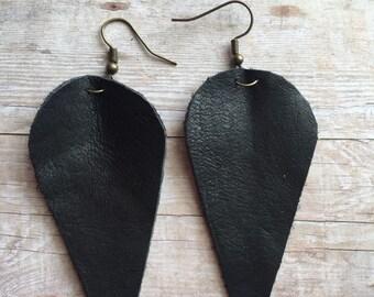 Leaf Earrings, Leather Earrings, Large Earrings, Lightweight Earrings, Statement Earrings, Reverse Teardrops, Joanna Gaines Inspired Earring