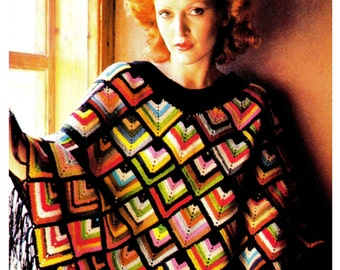 Crochet PONCHO PDF Pattern - Vintage 70's Crochet Poncho Pattern - Instant Download