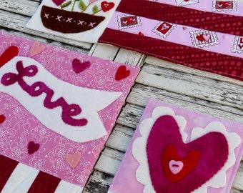 Prim Valentine mini quilt pattern PDF - 3 designs wool primitive folk art embroidery