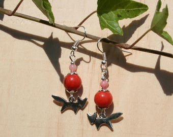 Earrings Jade beads and Fox - fall - silver, rust and pink colors soft
