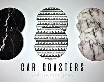 Marbled Car Coasters {Set of 2 Sandstone Coasters}