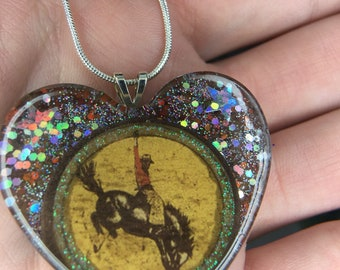 Cowboy rodeo resin necklace
