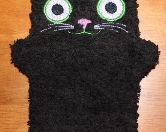 Child Size Embroidered Cotton Terry Cloth Bath Mitt Cat Puppet Black Ktty Wash Cloth