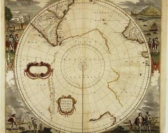 Ancient map of Antarctica,15th century, fine art print