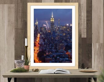 Empire State Building Lightning Storm - Oil Painting Simulation - INSTANT Digital Download Wall Poster Art