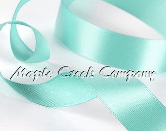 "5 yards of Aqua Double Face Satin Ribbon, 5 Widths Available: 1-1/2"", 7/8"", 5/8"", 3/8"", 1/4"""