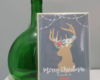 Christmas Card, Custom Christmas Cards, City Christmas Cards, Personalized Christmas Cards, Personalized Reindeer Christmas Card,
