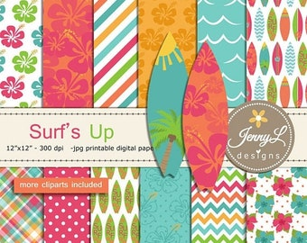 50% OFF Surfing digital papers and clipart SET, Surfing Board, Hibiscus, Tree, Sun for Digital Scrapbooking, birthday invitations Planner