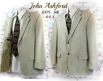 Silk sport coat - tan sport coat - men's silk blazer - men's tailored blazer - men's light weight blazer - men's Spring sport coat 44S # 237