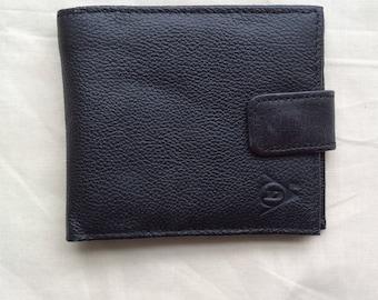 Vintage black faux leather pocket wallet, billfold wallet. 90s Dunlop TM wallet