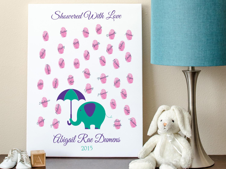 baby guest book elephant raindrop fingerprints 8x10