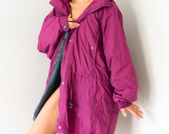 Awesome Rich Deep Magenta Vintage 80s 90s Anorak Utility Camping Winter Jacket Coat Extra Large XL XXL Plus Size 1X